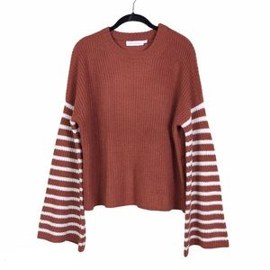 All in Favor Brown Striped Bell Sleeve Sweater S